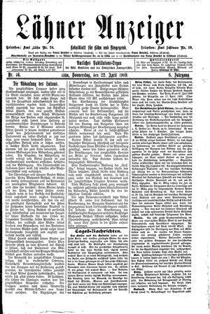 Lähner Anzeiger vom 22.04.1909