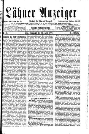 Lähner Anzeiger vom 24.04.1909