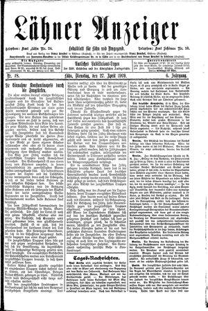 Lähner Anzeiger vom 27.04.1909