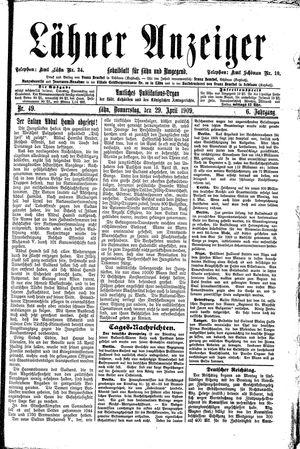 Lähner Anzeiger vom 29.04.1909
