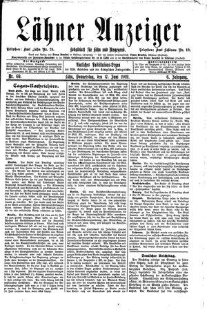 Lähner Anzeiger vom 17.06.1909