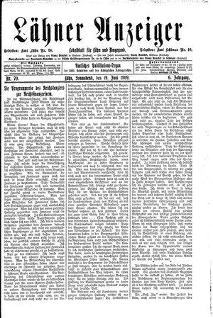 Lähner Anzeiger vom 19.06.1909
