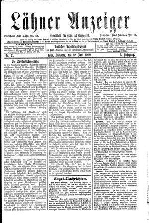 Lähner Anzeiger vom 22.06.1909