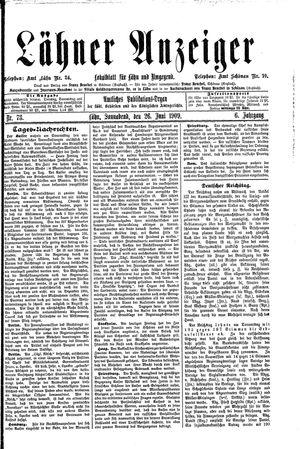 Lähner Anzeiger vom 26.06.1909