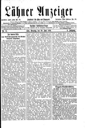 Lähner Anzeiger on Jun 29, 1909