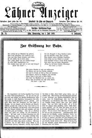 Lähner Anzeiger vom 01.07.1909