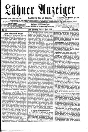 Lähner Anzeiger vom 06.07.1909