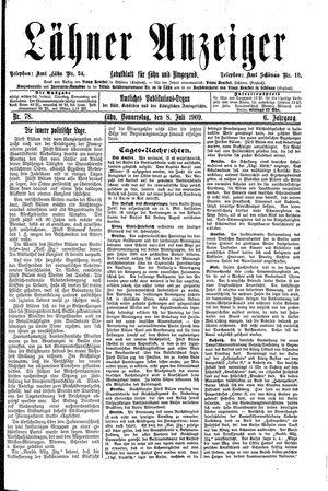 Lähner Anzeiger vom 08.07.1909