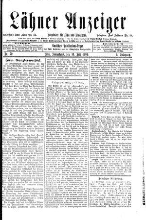 Lähner Anzeiger vom 10.07.1909