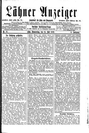 Lähner Anzeiger vom 15.07.1909
