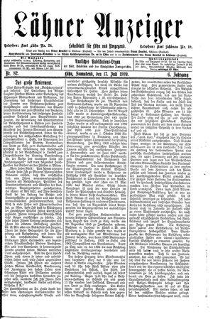 Lähner Anzeiger vom 17.07.1909