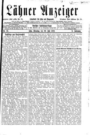 Lähner Anzeiger vom 20.07.1909