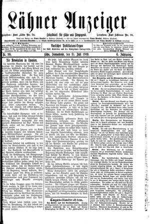 Lähner Anzeiger vom 31.07.1909