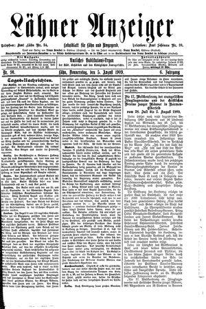Lähner Anzeiger vom 05.08.1909