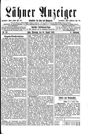 Lähner Anzeiger vom 10.08.1909
