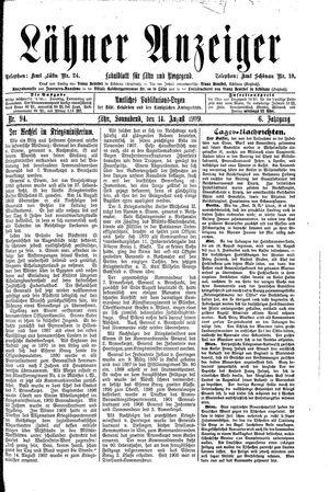 Lähner Anzeiger vom 14.08.1909