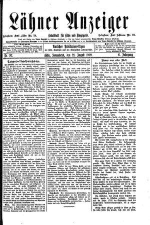Lähner Anzeiger vom 21.08.1909