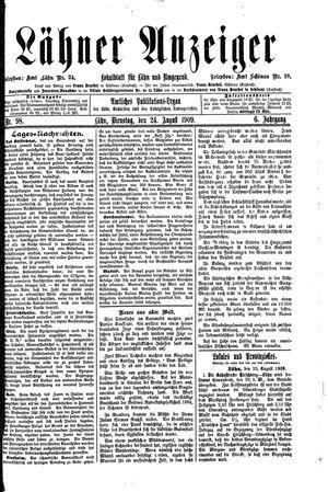 Lähner Anzeiger vom 24.08.1909