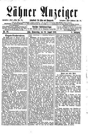 Lähner Anzeiger vom 26.08.1909