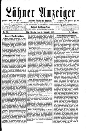 Lähner Anzeiger vom 14.09.1909