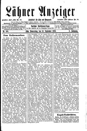 Lähner Anzeiger vom 16.09.1909