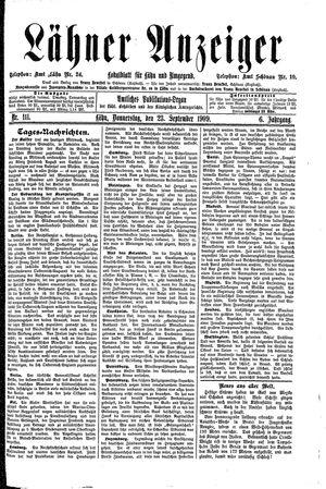 Lähner Anzeiger vom 23.09.1909