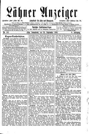 Lähner Anzeiger vom 25.09.1909