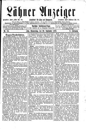 Lähner Anzeiger vom 30.09.1909