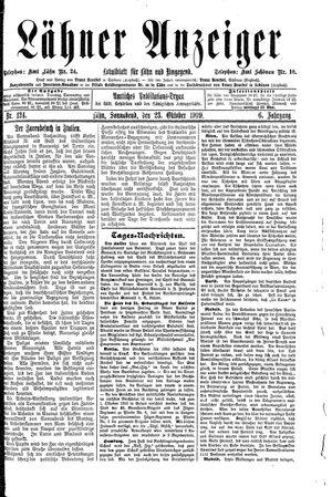 Lähner Anzeiger vom 23.10.1909