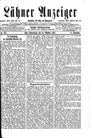 Lähner Anzeiger vom 28.10.1909