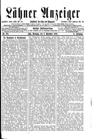Lähner Anzeiger vom 02.11.1909
