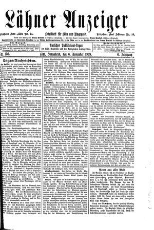 Lähner Anzeiger vom 06.11.1909