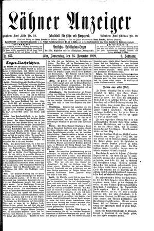 Lähner Anzeiger vom 25.11.1909