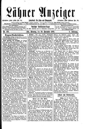 Lähner Anzeiger vom 30.11.1909