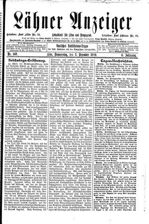 Lähner Anzeiger vom 02.12.1909