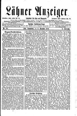Lähner Anzeiger vom 11.12.1909