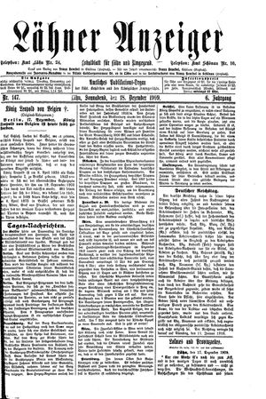 Lähner Anzeiger vom 18.12.1909