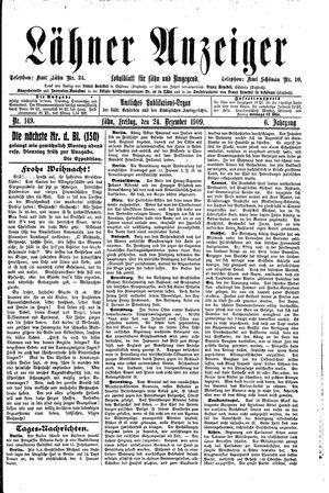 Lähner Anzeiger vom 24.12.1909
