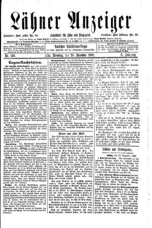 Lähner Anzeiger vom 28.12.1909