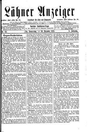Lähner Anzeiger vom 30.12.1909