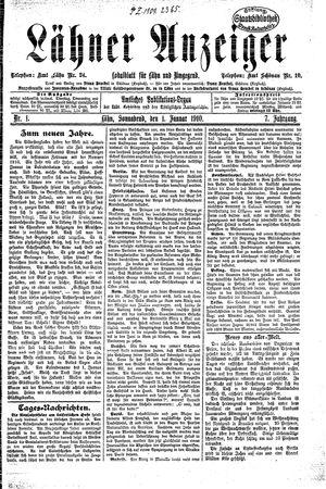 Lähner Anzeiger vom 01.01.1910