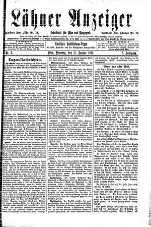 Lähner Anzeiger vom 11.01.1910