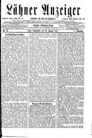 Lähner Anzeiger vom 29.01.1910