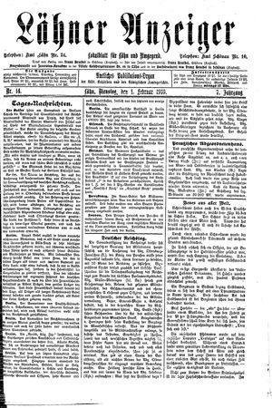 Lähner Anzeiger vom 01.02.1910
