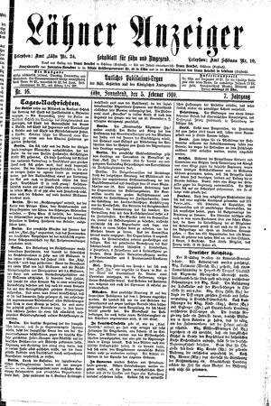 Lähner Anzeiger vom 05.02.1910