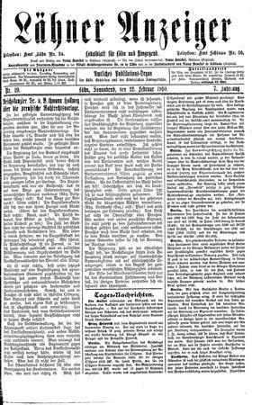 Lähner Anzeiger vom 12.02.1910