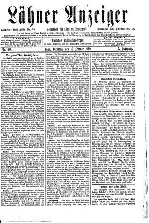 Lähner Anzeiger vom 15.02.1910