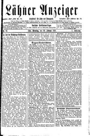 Lähner Anzeiger vom 22.02.1910