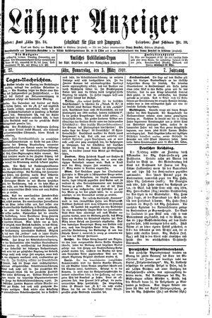 Lähner Anzeiger vom 03.03.1910