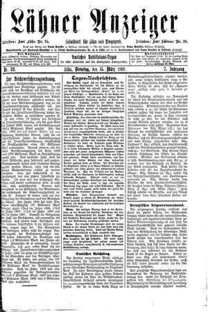 Lähner Anzeiger vom 15.03.1910